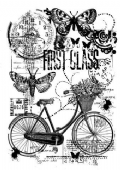 Woodware - Bicycle Collage - Clear Magic Single Stamp - FRS682
